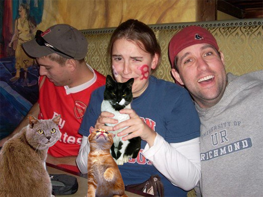 boozecats hate crybabies. the one in her hands looks like he really wants to get out of this situation